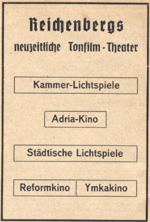 1939 Reklama na liberecka kina