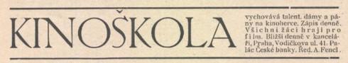 reklama Kinoskola - Cesky svet 1918